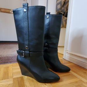 Paris Hilton Leather Wedge Boots